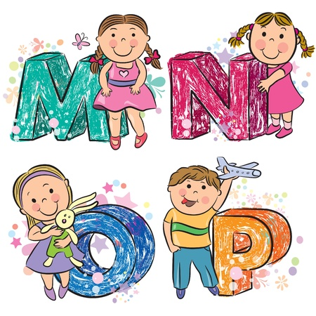 alfabeto: Alfabeto divertido con los ni�os MNOP Vectores