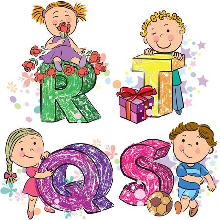 kid s illustration: Funny alphabet with kids RQST  Illustration