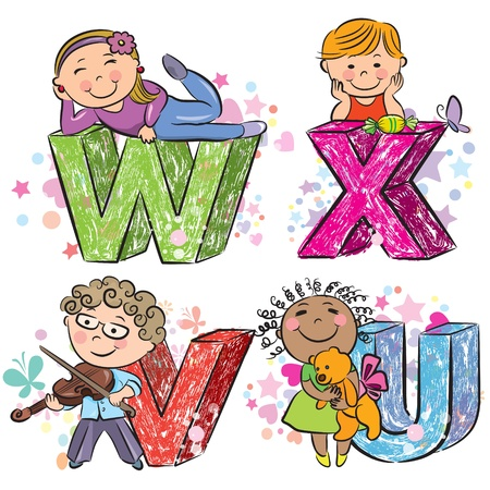 Funny alphabet with kids VWXU  Vector