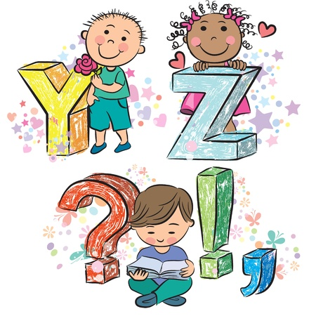 Funny alphabet with kids YZ  Vector