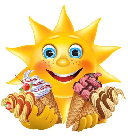heat: Funny sun with delicious ice creams