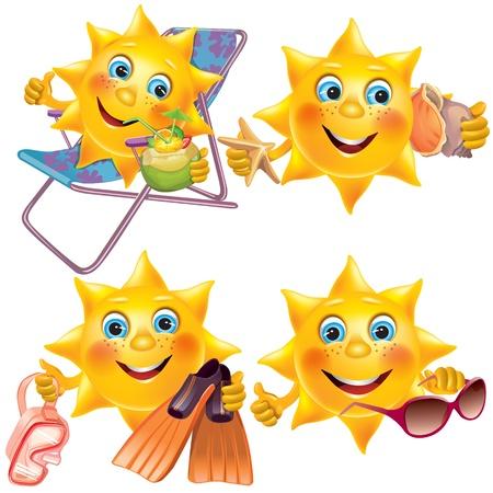 soleil rigolo: Fun soleil des vacances contient des objets transparents EPS10 Illustration