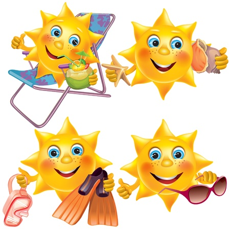Fun sun on vacation  Contains transparent objects  EPS10  Vector