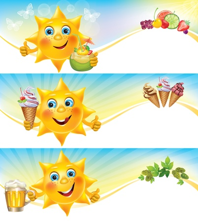 Fun sun with ice cream and cool drinks horizontal banners  Contains transparent objects  EPS10  Vector