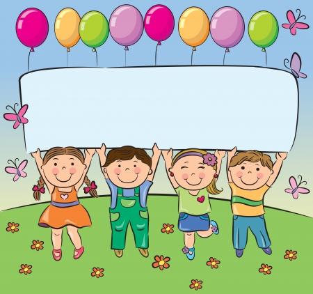 niños con pancarta: Los niños de verano tienen la bandera en blanco Contiene objetos transparentes EPS10