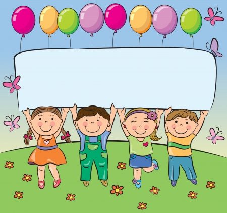 Summer children hold blank banner  Contains transparent objects  EPS10  Vector