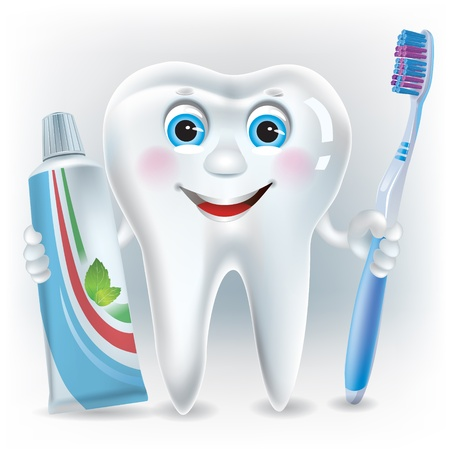 eye doctor: Funny tooth with toothpaste and toothbrush