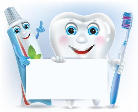 pasta dental: Diente divertido, pasta de dientes y cepillo de dientes con el espacio en blanco