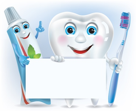 dentist cartoon: Funny tooth, tooth paste and tooth brush with blank