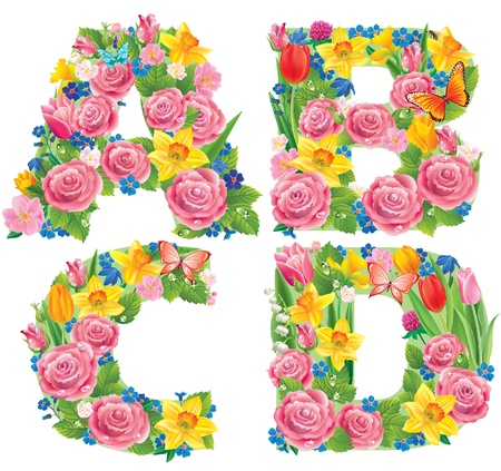 flower alphabet: Contains transparent objects. Alphabet of flowers ABCD