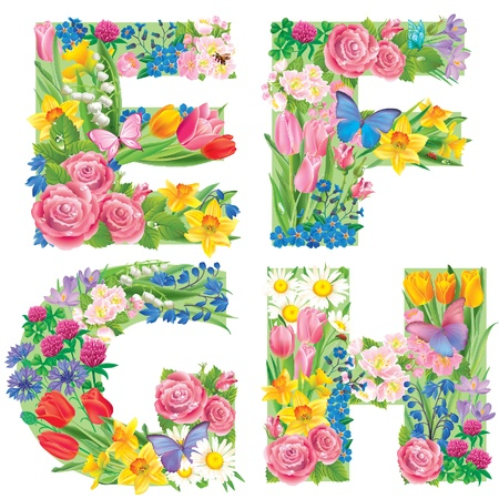 Alphabet of flowers EFGH. Contains transparent objects Vector