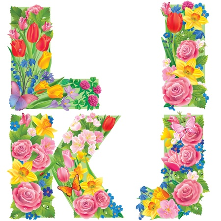 Alphabet of flowers IJKL. Contains transparent objects Vector