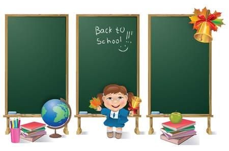 Vertical banners school board and school girl. Contains transparent objects. EPS10. Vector