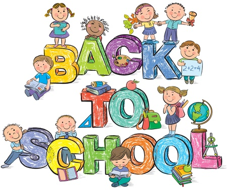 Back to school funny letters and kids. Contains transparent objects. EPS10 Vector
