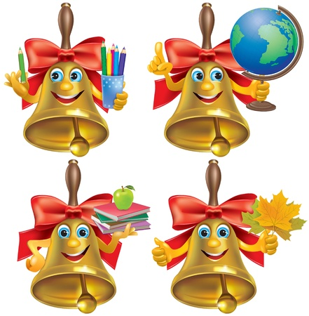 Funny school bell with school accessories. Contains transparent objects. EPS10 Vector
