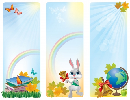 Vertical banner back to school. Contains transparent objects.  Vector