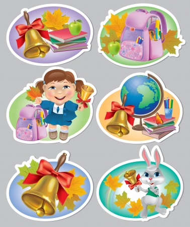 School stickers. Contains transparent objects.  Vector
