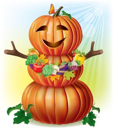 autumn scarecrow: Fun pumpkin and harvest
