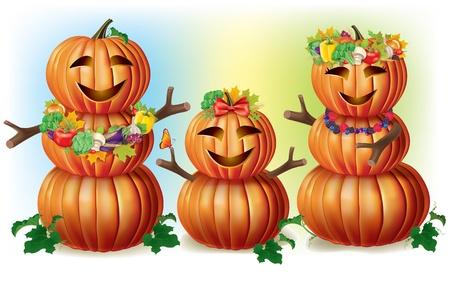 autumn scarecrow: Happy Pumpkin Family