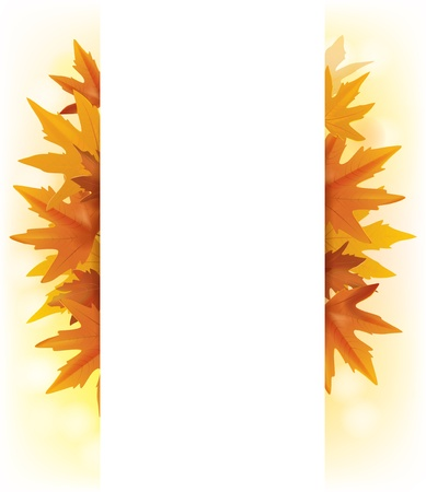 Banner of yellow maple leaves. Stock Vector - 22831453