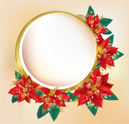 Round banner with Christmas poinsettia. Contains transparent objects. EPS10
