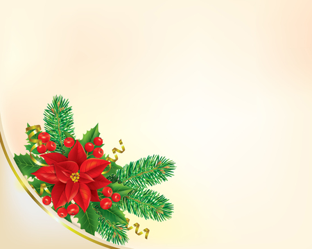 Corner Christmas banner with poinsettia. Contains transparent objects. EPS10  Vector