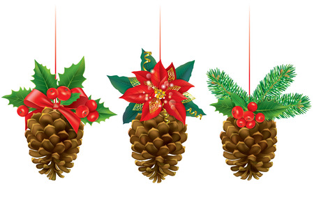 pine cones: Christmas decorations from pine cones. Contains transparent objects. EPS10  Illustration