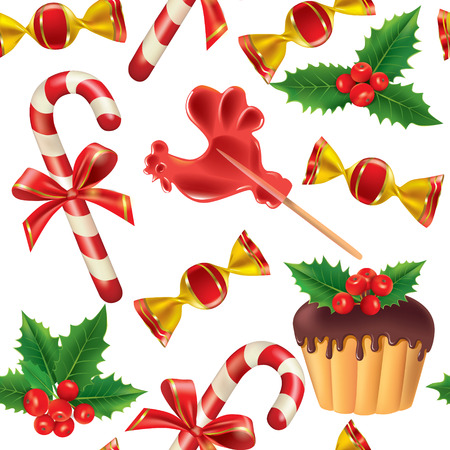 Seamless pattern of New Year sweets.  Contains transparent objects. EPS10 Vector