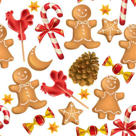 Seamless pattern of Christmas sweets.  Contains transparent objects. EPS10 Vector