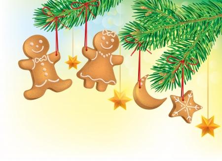 the decor: �rbol de navidad decorado con galletas de Navidad. Contiene los objetos transparentes. EPS10