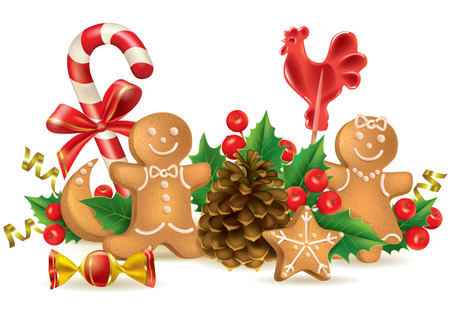 Christmas candy and decorations. Contains transparent objects. EPS10 format Vector