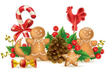year of rooster: Dulces y decoraciones de Navidad. Contiene los objetos transparentes. Formato EPS10