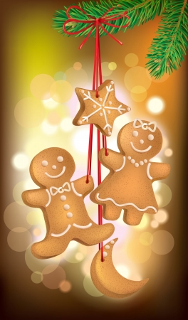 christmas cookies: Christmas cookies on the Christmas tree.  Contains transparent objects. EPS10 Illustration