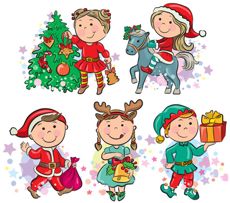 Christmas kids. Contains transparent objects.  Vector