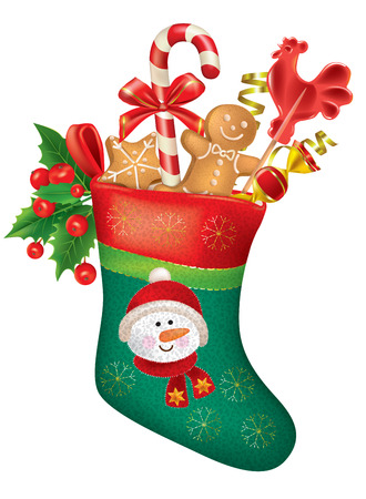 Christmas stocking with sweets. Contains transparent objects.  Illustration