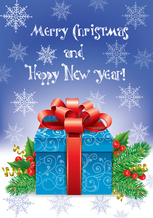 Happy New Year greeting. Contains transparent objects. Vector