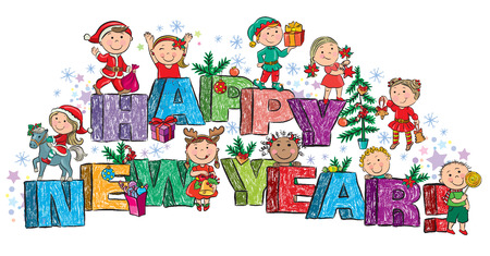 Happy New Year kids on the letters. Contains transparent objects. Stock Vector - 23872575