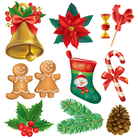 Christmas beautiful set. Contains transparent objects. Vector