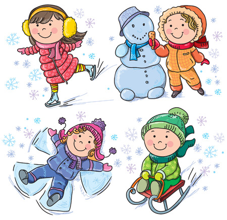 Winter kids. Contains transparent objects.  Vector