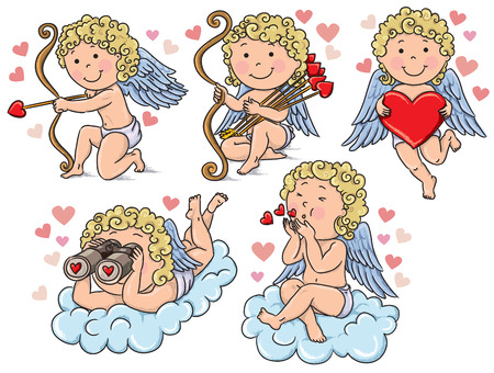 Cupids kids. Contains transparent objects. Stock Vector - 24900491