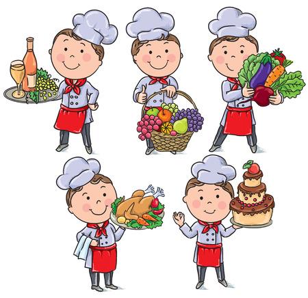 k�che: Kleiner Chef mit Lebensmitteln und Mahlzeiten. Transparente Objekte enth�lt. Illustration