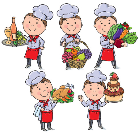 kitchen cooking: Little chef with food and meals. Contains transparent objects.