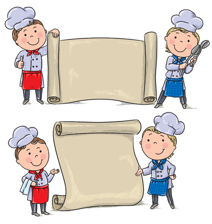 blue white kitchen: Two funny kids cook with banner scroll. Contains transparent objects.