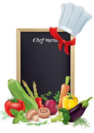 green board: Chef menu board and vegetables. Contains transparent objects.