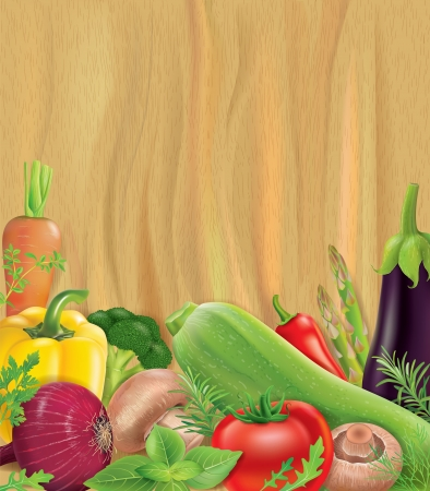 majors: Vegetables on wooden board. Contains transparent objects.