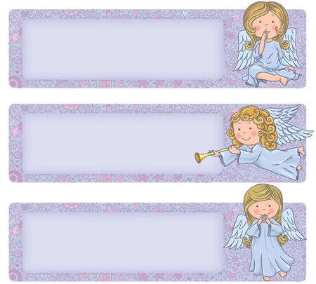 angeles bebe: Bandera horizontal con ángeles lindos. Ángeles lindos. Contiene los objetos transparentes.