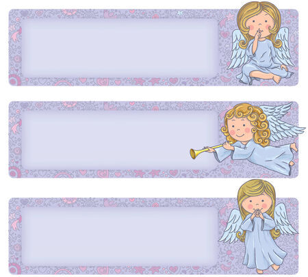 Horizontal banner with cute angels. Cute angels. Contains transparent objects.  Vector