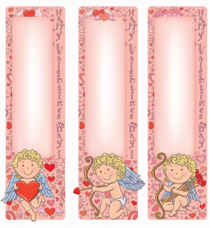 Valentine's Day Cupid with vertical banners. Contains transparent objects. Vector