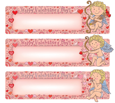 happy valentines day: Valentines Day banners with cupid. Contains transparent objects.