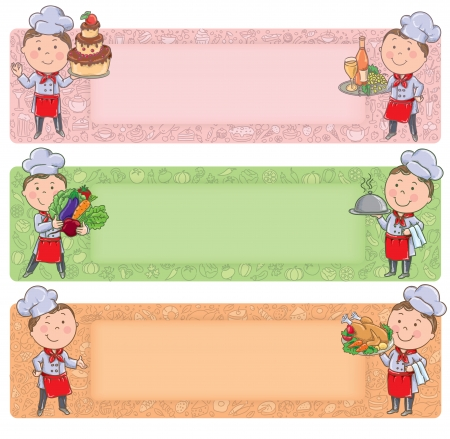 Little chef with food and meals. Contains transparent objects. Vector